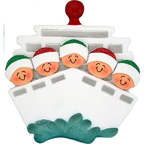 - Personalized Cruise Family of 5 Christmas Tree Ornament 2019 - Children Friends Glitter Hat Ship Tour Travel Ocean Waves Vacation Trip Winter Tradition - Free Customization (Five)