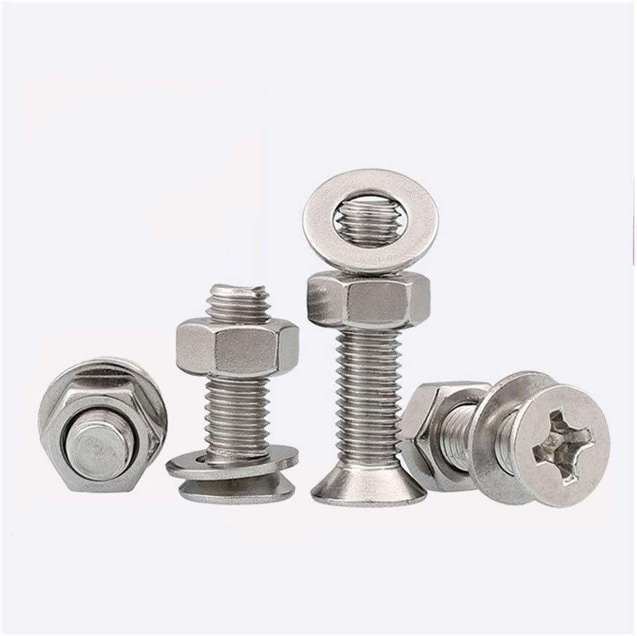 NO-LOGO Screws Bolt M4 GB819 304 Stainless Steel Cross Recessed Countersunk Head Screws Hex Nuts and Plain Washers Assemblies HW341 Color : 30mm, Size : M4 20Pcs
