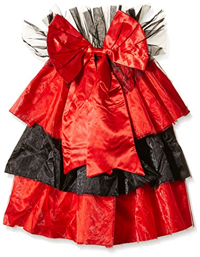 Satin And Organza Pin-On Bustle With Oversized Bow Detail (Black/Red;One Size) - Leg Bustier Avenue