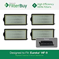 4 - Eureka HF-9 (HF9) HEPA Replacement Filters, Part #s 60951, 60951A, 60951B, 60285. Designed by FilterBuy to fit Eureka Victory Upright Vacuum Cleaners.