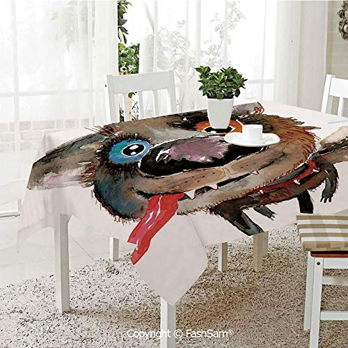 FashSam Party Decorations Tablecloth Funny Dog Puppy Smiling Best Companion Happy Creature Humor Grunge Print Dining Room Kitchen Rectangular Table Cover(W60 xL84) -