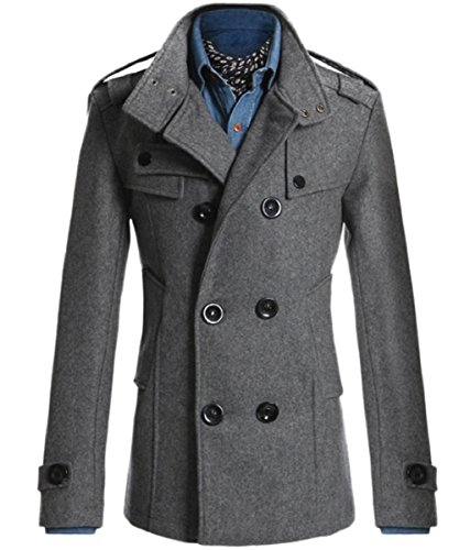 Sorrica Mens Classic Wool Blend Double Breasted Pea Coat (US Large, ()