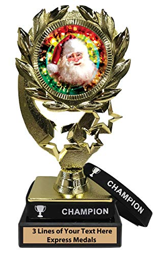 Express Medals Santa Christmas Trophy with Removable Wearable Champion Wrist Band Marble Base and Personalized Engraved Plate