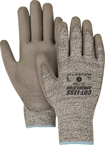 Majestic Glove 33-1500/S Industrial Gloves, Knit, Polyurethane Palm, Level 5, Small, Gray (Pack of 12)
