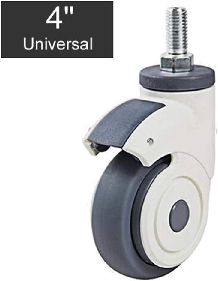 Rueda universal Médico de plástico llena de silencio Ruedas/Llantas M12x25 Tornillo de rueda TPR Silencio usable for el Hospital de la carretilla Electronic Equipment (Color : 4 inch universalx2)