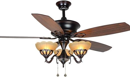 ZHJ Ventilador de Techo Decorativo Vintage luz luz de Ventilador ...