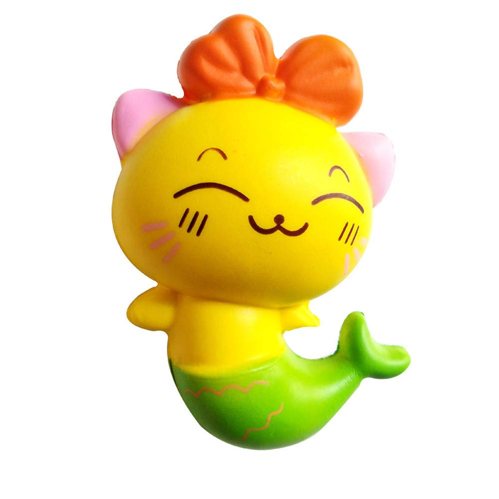 callm Jumbo Squishy Squeeze Toys Adorable Fishtail Cat Kitty Slow Rising Soft Scented Charms Squishy Stress Reliever Anxiety Relief Squishies Toys for Kids and Adults