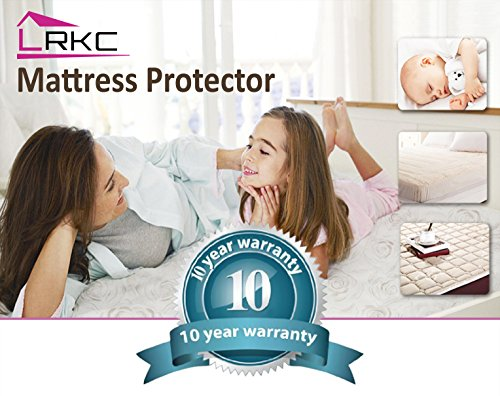 LRKC 100 Waterproof Mattress Protector Queen Size Vinyl Free Hypoallergenic Mattress Pad Cover