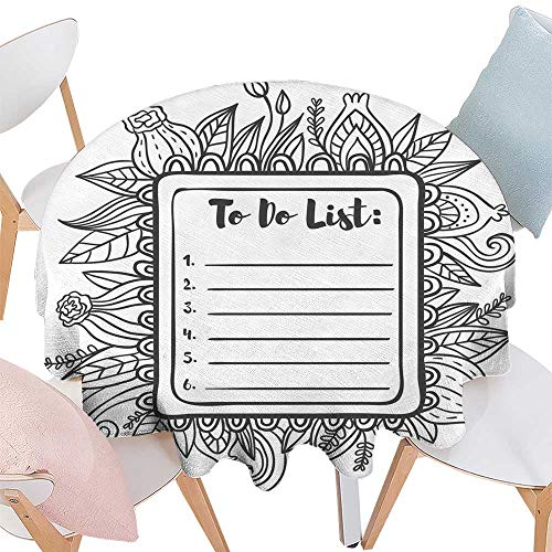 longbuyer Wrinkle Free Tablecloths Printable to Do List Page Round Tablecloth D 60
