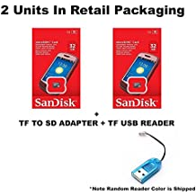 2 PACK - SanDisk 32GB MicroSDHC Memory Flash Card Class 4 Micro SD SDHC SDSDQM-032G Wholesale Lot 32GB x 2 = 64GB + BONUS TF USB Reader