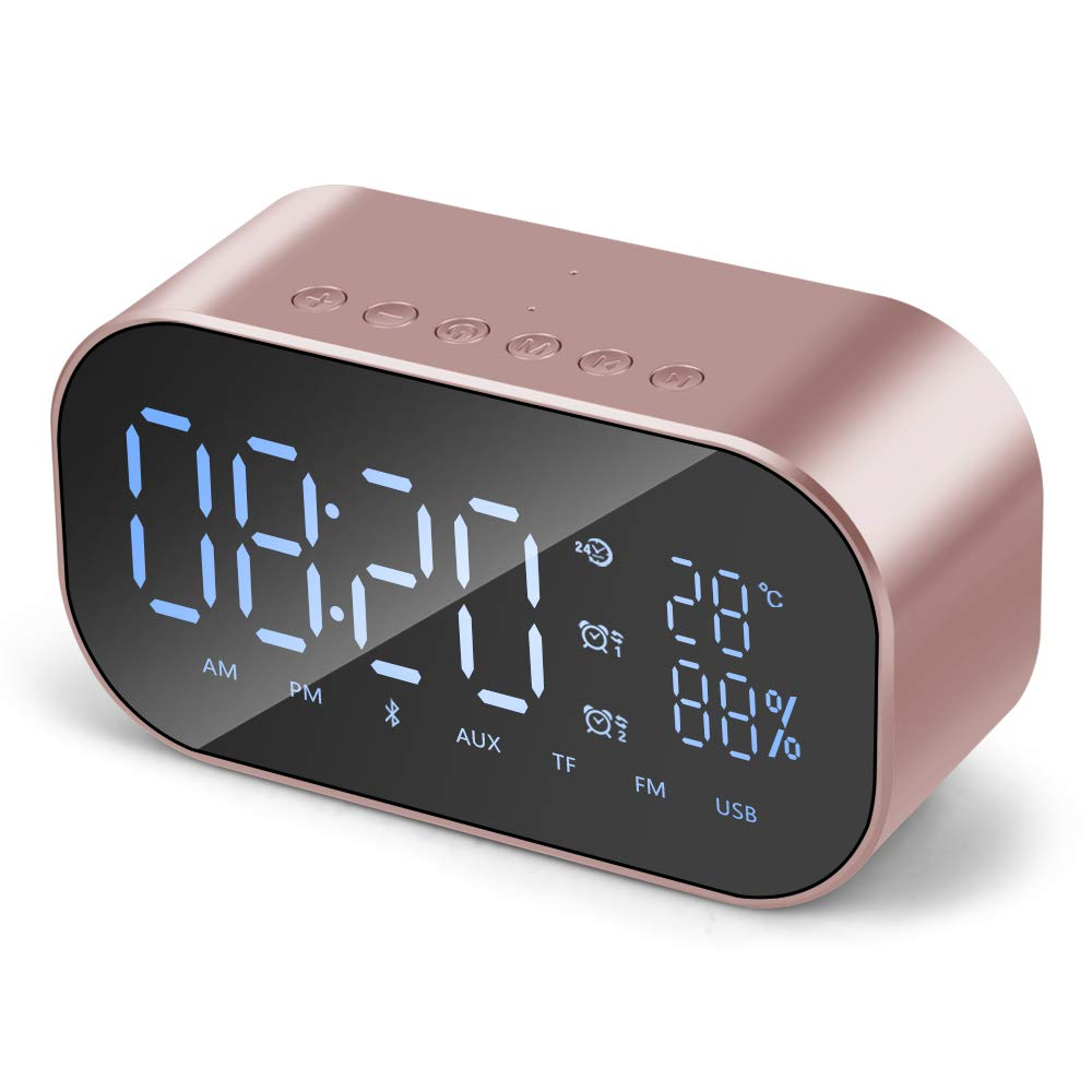 RONSHIN Bluetooth Speakers,Mini Bluetooth Speaker Wireless Stereo Portable LCD FM Radio Alarm Clock Outdoor Speaker Rose Gold by RONSHIN