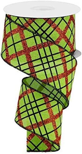 Halloween Wired Ribbon Glittered Orange Black Plaid Pattern 2.5 x 10 yard on Lime Green Royal Burlap Fabric