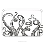 Flannel Microfiber Non-slip Rubber Backing Soft Absorbent Doormat Mat Rug Carpet Hand Drawn Vector Tentacles In A Rough Wood Cut Style Each Tentacle Is A Separate Illustration And 204511960 for Indoor