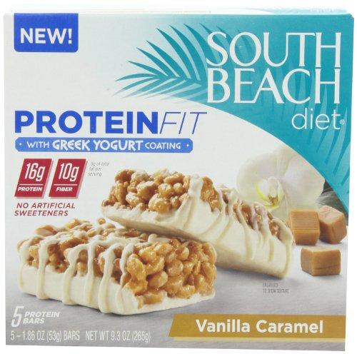 South Beach Diet Vanilla Caramel avec de la protéine yogourt grec revêtement Fit Bar, 5 comte