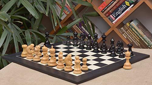 Combo of Indian Chetak II Customized Staunton Chess Set in Ebony / Box Wood & Black Anigre Maple Chessboard - 4.2