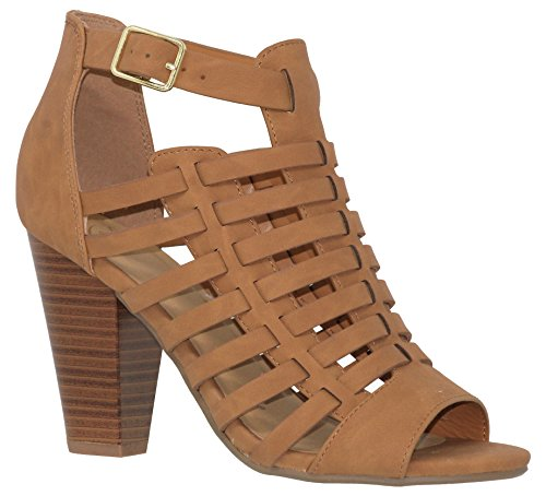 MVE Shoes Women's Open Toe Coutout Stracked Heel - Vegan Leather Shoes - Chunky Mid Heel Peep Toe, tan nbpu Size 6 ()