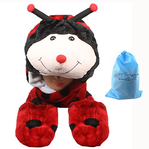 [Silver Fever Plush Soft Animal Beanie Hat with Built-in Earmuffs, Scarf, Gloves (Lady Bug)] (Ladybug Soft Costumes)