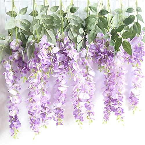 Kirinhomelife Artificial Fake Flowers Silk Flower Wisteria Vine Garland Décor for Wedding Home Garden Party Hanging Decorations,6 pcs (Light Purple) ()