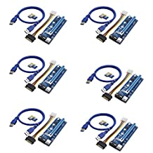 006C PC PCIe PCI-E PCI Express Riser Card 1x to 16x USB 3.0 Data Cable SATA to 4Pin IDE Molex Power Supply for BTC Miner Machine(6 Pack)