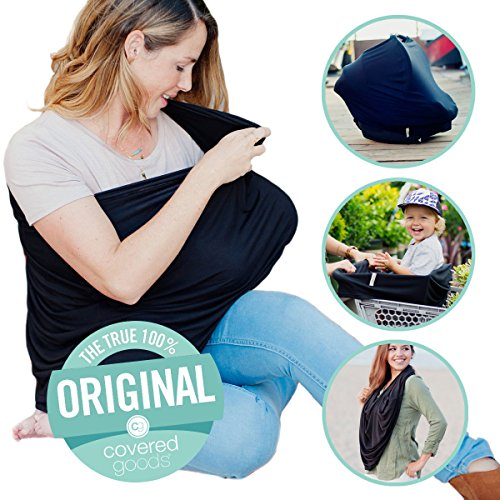 Sewing Nursing Cover - Covered Goods - The Original Multi Use Maternity Breastfeeding Nursing Cover, Infinity Scarf, and Car Seat Cover - Black