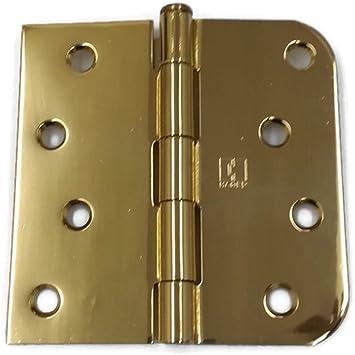 "27 Pack Polished Brass 3.5/"" x 3.5/"" 1//4 Radius Corner Interior Door Hinges"