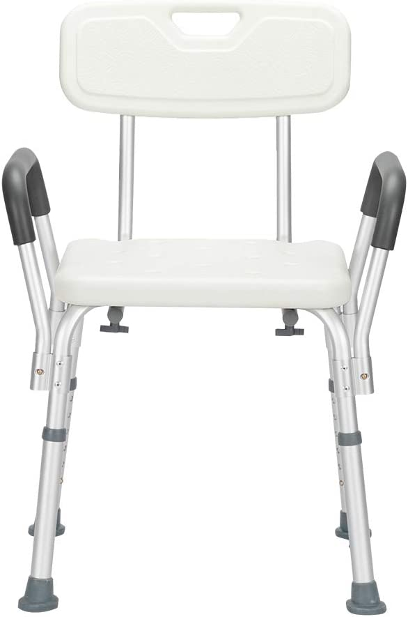 Aluminum Alloy 6 Gear Non-Slip Adjustable Elder Shower Chair Bath Stool Transfer Bench Seat with Back & Armrests for Bathroom, White