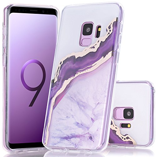 Galaxy S9 Case, BAISRKE Shiny Gold Purple Marble Agate Crystal White Background Design Shock Absorption Soft Clear TPU Edge Bumper and Rigid Hard Plastic Back Cover for Samsung Galaxy S9 5.8