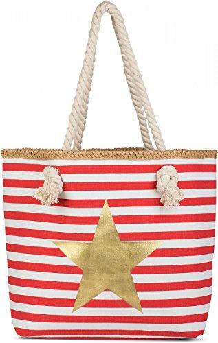 styleBREAKER Strandtasche mit maritimen Streifen Muster, Stern Print und Reißverschluss, Schultertasche, Shopper, Damen 02012169, Farbe:Rot-Weiß/Gold