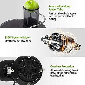 Aigostar MyFrappe Black 30IMX - Centrifuga ed Estrattore di Succo e verdura. Potenza 850W a bassa rumorosità. Semiprofessionale 1.25L. Acciaio Inox. BPA Assente. Design esclusivo - 2021 -