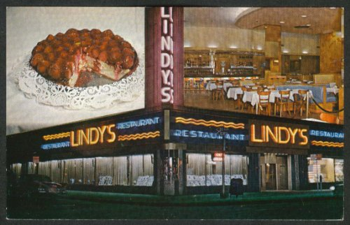 Lindy's Restaurant Cheesecake Broadway at 51st New York City NY postcard