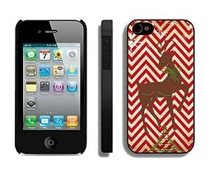 Tostore Chevron red stripe deer battery cover for iphone 4/4s cases-Black border