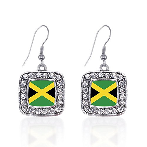 Inspired Silver Jamaican Flag Classic Charm Earrings Square French Hook Clear Crystal (Flag Charm Earrings)