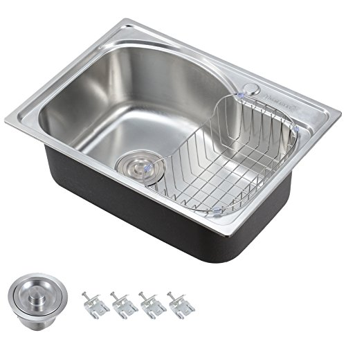 Voilamart 1.0 Single Bowl Stainless Steel Square Kitchen Sink with Drain...