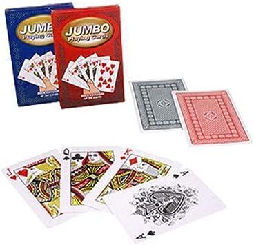 Jumbo Playing Cards 9.5 x 14.5 cm - red back - Tarjeta Juegos - Trucos Magia y la magia: Amazon.es: Juguetes y juegos