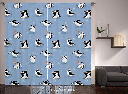 Thermal Insulated Blackout Window Curtain [ Cartoon Animal,Skating Funny Penguins Fun Activity Cheerful Smiling Mascots Cute Couple Decorative,Multicolor ] for Living Room Bedroom Dorm Room Classroom]()