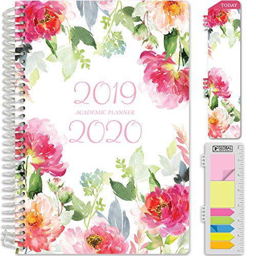 HARDCOVER Academic Planner 2019-2020: (June 2019 Through July 2020) 5.5'x8' Daily Weekly Monthly Planner Yearly Agenda. Bonus Bookmark, Pocket Folder and Sticky Note Set (Elegant Floral)