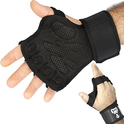 GorillaPower CrossFit Training Gloves V2.0 – Advance Wrist Support With FULL Palm Protection – Comfortable & Strong Grip – Great For WOD, Gym Workouts, Weightlifting & Cross Training (S/M)