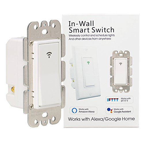 WiFi Smart Light Switch Wireless Remote Control In-Wall Timer Switch for Fan Lights Compatible with Alexa Google Home,No Hub Required