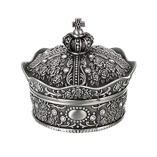 (Hipiwe Vintage Jewelry Box, Antique Crown Design Trinket Treasure Chest Storage Organizer,Metal Earrings/Necklace/Ring Holder Case, Keepsake Giftb Box for Girls Women (Small))