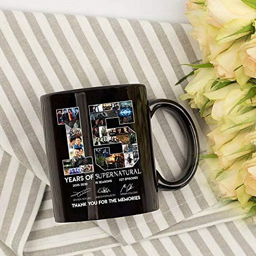 Supernatural 15 Years Anniversary Dean Sam Castiel Signatures Muqs 11OZ Coffee Mug -