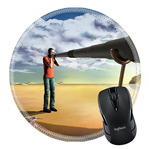 MSD Mousepad Round Mouse Pad/Mat 3707117 Surreal illustration of a photographer using an unfeasibly long - Lens Paparazzi
