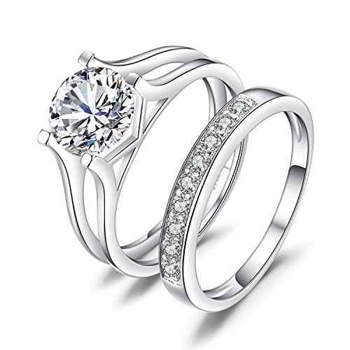 JewelryPalace Wedding Rings Wedding Bands Solitaire Engagement Rings For Women Anniversary Promise Ring Bridal Channel Sets 925 Sterling Silver 1ct Cubic Zirconia Size 8 ()