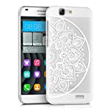 kwmobile Crystal Case for Huawei Ascend G7 with Design Indian half-flower - transparent Protection Case Cover clear in white transparent