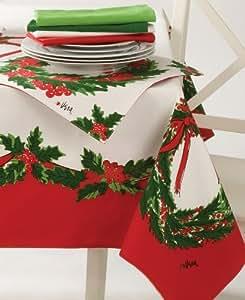 "Vera Christmas Wreath Print Tablecloth MULTI 60"" X 84"" Oblong"