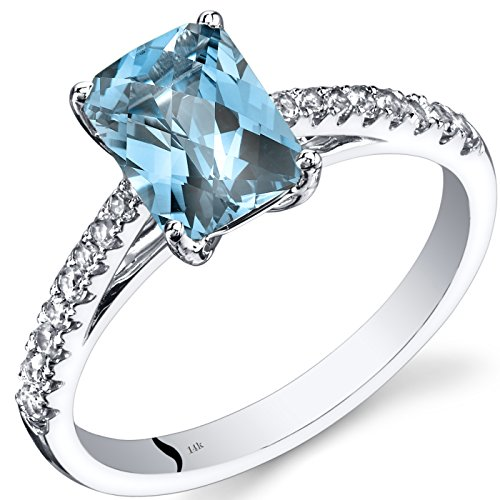 (14K White Gold Swiss Blue Topaz Ring Radiant Cut 1.75 Carats Size 7)
