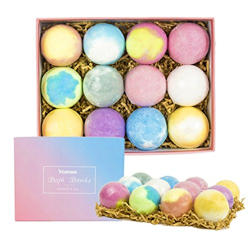 Vitanass 12 Bath Bombs Gift Set, Nature Bath Bomb Kit With Organic Shea & Coco Butter Dry Skin Moisturize, Perfect for Spa Bomb Fizzies, Best Gift Ideas For Women, Mom, Girls, Teens, Her