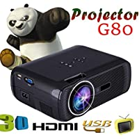 G80 HD intelligent LED HD Video 1000 Lumens projector, White Mini Projector with Free HDMI Support 1080P for Home Cinema Theater TV Laptop Game SD iPad iPhone Android Smartphone