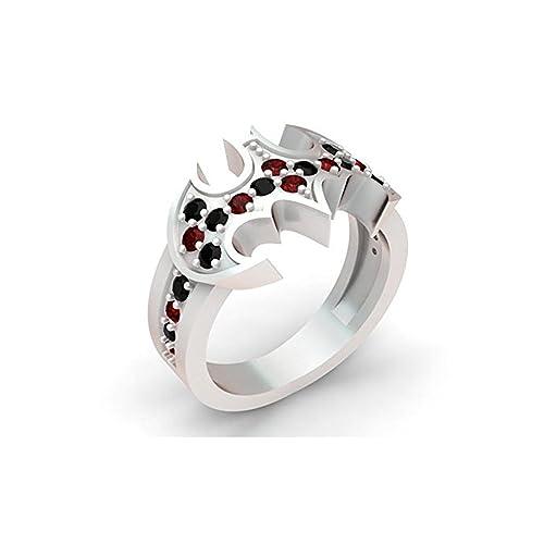 Harley Batman inspirado anillo de compromiso 0,60 ct rojo y negro con pequeñas piedras
