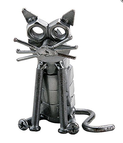 Recycled Metal Sitting Cat (Recycled Statues)