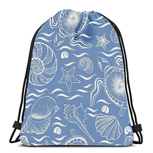 Gym Drawstring Backpack Sport Bag Marine Lie Seashell Turtle Mollusk Ocean Waves Lightweight Shoulder Bags Travel College Rucksack for Women - Lies Seashell